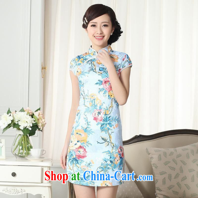An Jing jacquard cotton daily Chinese qipao cultivating short cheongsam picture color 2 XL