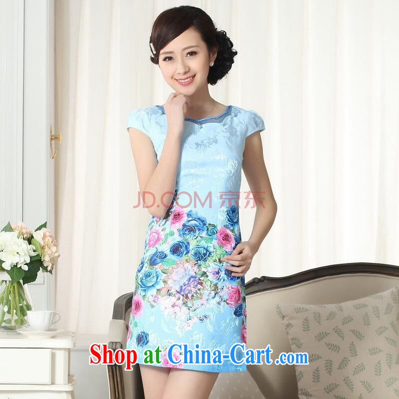 And Jing Ge new summer elegance Chinese qipao improved graphics thin short cheongsam picture color 2 XL