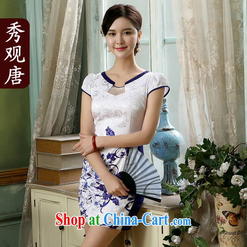 The CYD HO Kwun Tong' King's 2015 improved stylish everyday dresses summer new retro stamp female dresses QD 4128 white M