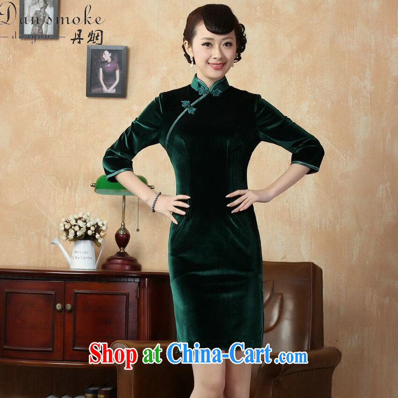 Bin Laden smoke-free Chinese cheongsam dress New solid color-stretch-velvet cheongsam 7 cuff improved cheongsam - C green 3 XL