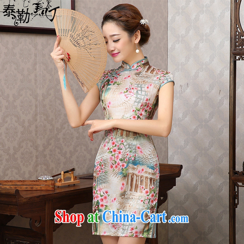 Taylor Martin 2015 new summer day qipao sauna beauty silk graphics thin cheongsam dress retro improved female yellow peaches XXL