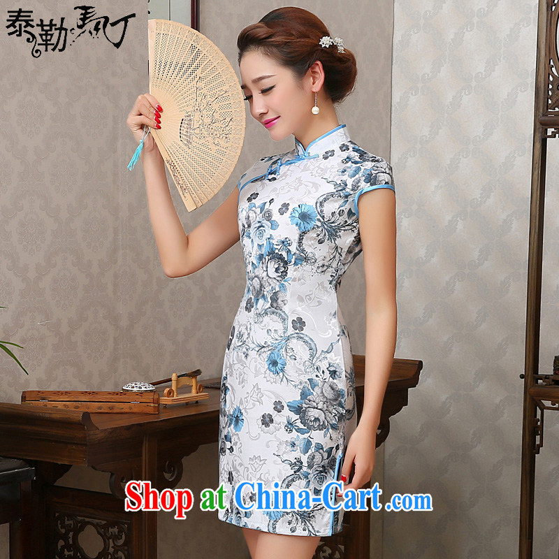 2015 new stamp duty cotton day dresses short, elegant and refined beauty cheongsam dress the street casual summer female white XXL