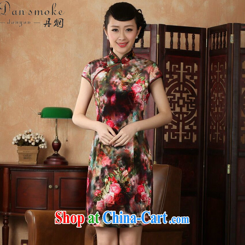 Dan smoke-free goods Tang Women's clothes summer new stretch the wool painting style Chinese improved classic short-sleeved short cheongsam as color L