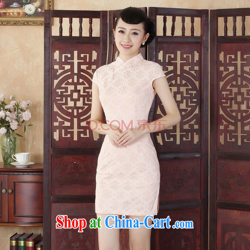 Joseph cotton Lady Jane, stylish and refined beauty lace short cheongsam dress new Chinese qipao gown - B pink XXL