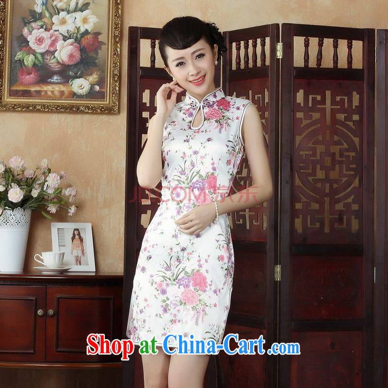 Joseph's cotton robes, Ms. Tang is improved summer dresses, for the hard-pressed stamp collection waist dress dresses J 5022 white XXL
