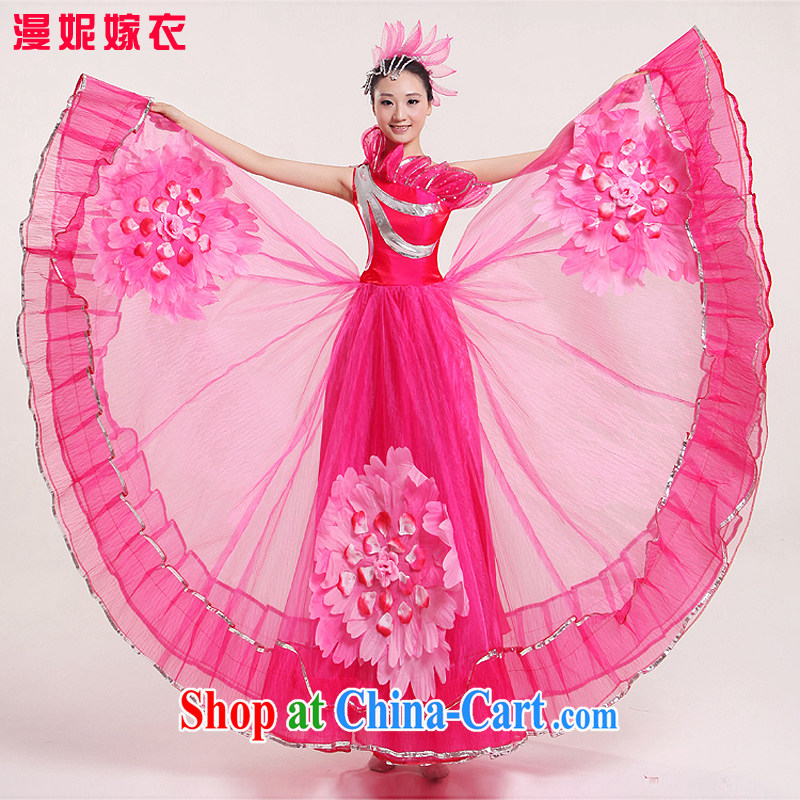 Square dance classical dance costumes large modern swing skirt opening dance for dance clothing dance performances for serving female classical dance clothing modern costume three-dimensional flowers peach XXL