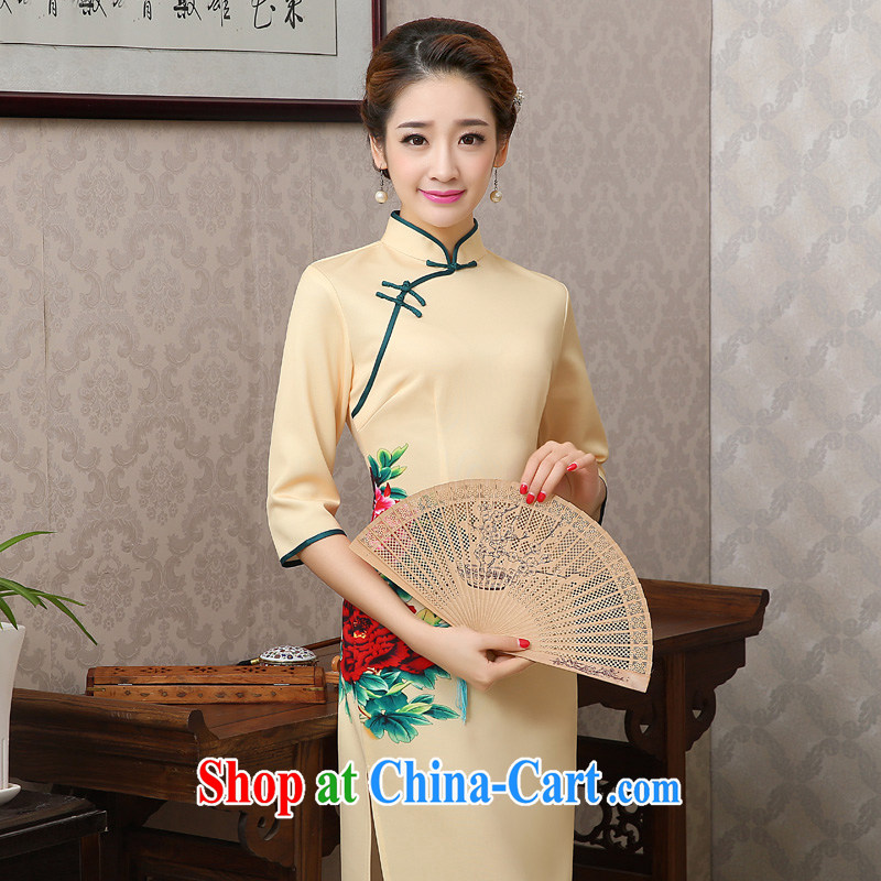 2015 new spring and summer stamp duty-day long cheongsam dress short-sleeved high on the truck retro improved cultivating cheongsam dress dress yellow only short-sleeved S