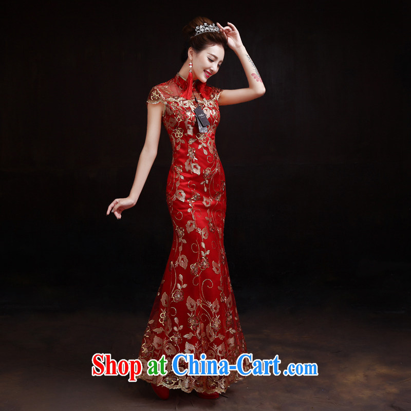Dumping the married Yi 2015 Spring and Autumn new bride toast wedding clothes outfit long retro improved cultivation crowsfoot red XXL