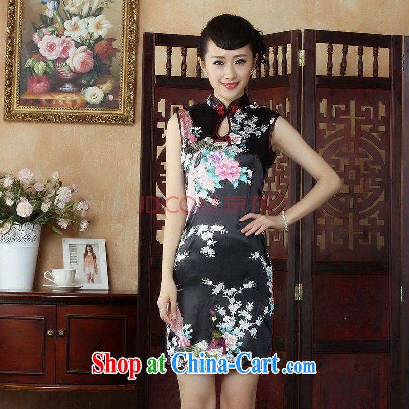 Joseph cotton robes, Ms. Tang is improved summer dresses up for a tight Peacock short cheongsam dress dresses J 5141 black XXL