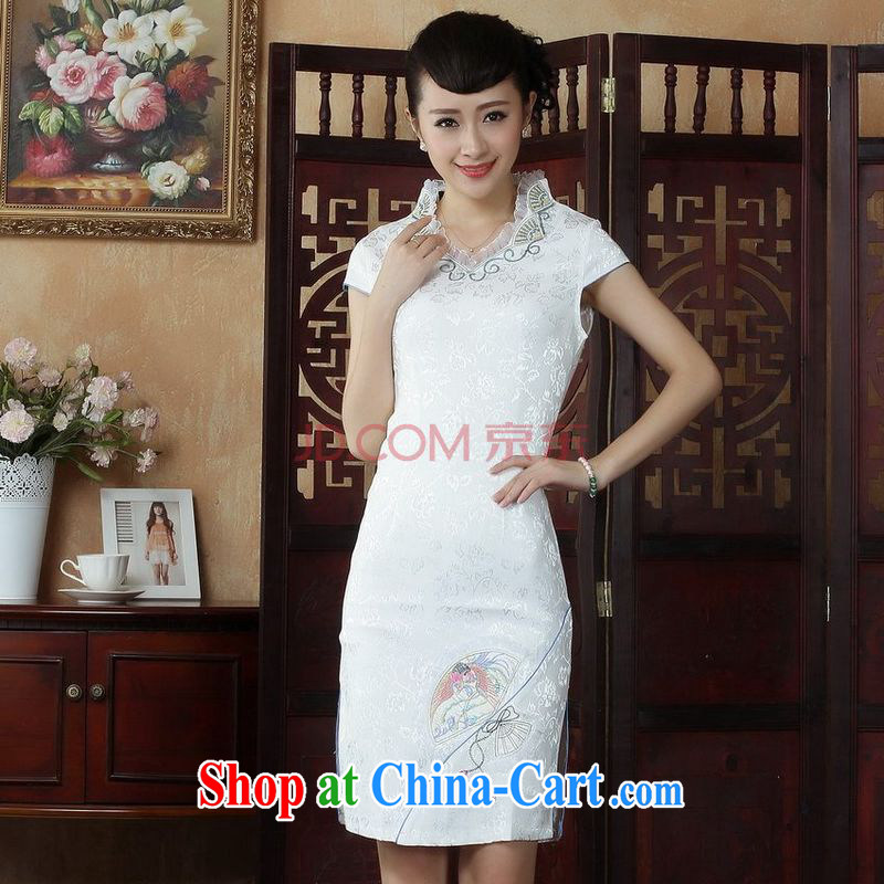 Joseph cotton robes, Ms. Tang is improved summer dresses, embroidery FOR THE WAIST dress dress white XXL