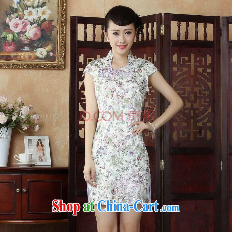 Joseph cotton robes, Ms. Tang is improved summer dresses V collar embroidered a waist dress dresses picture color XXL