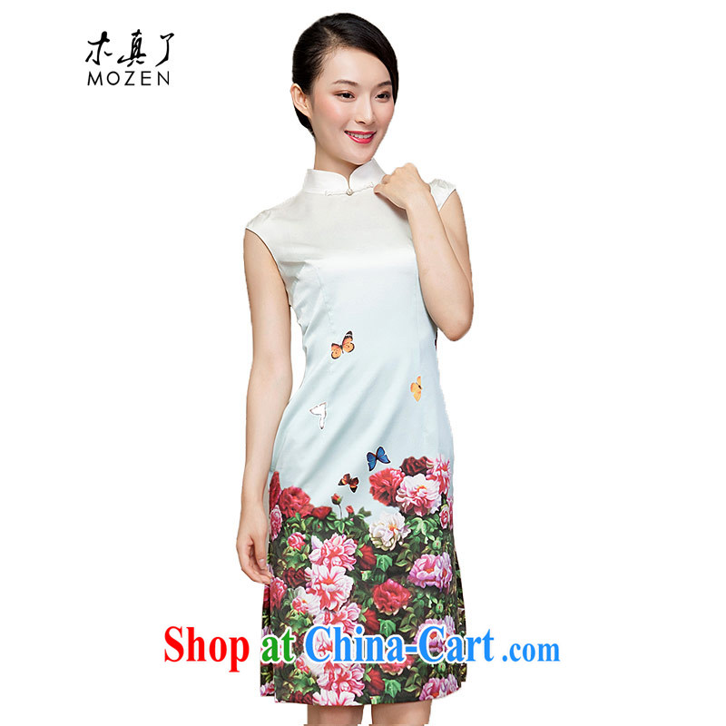 Wood is really the female 2015 spring new Chinese cultivating improved cheongsam dress Silk Dresses summer 15 21,817 light green XXL