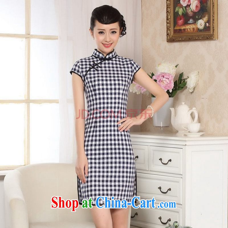 Joseph cotton swab the retro checked short-sleeved qipao improved daily republic linen clothes summer dresses skirts D 0247 - B Blue on white grid XXL