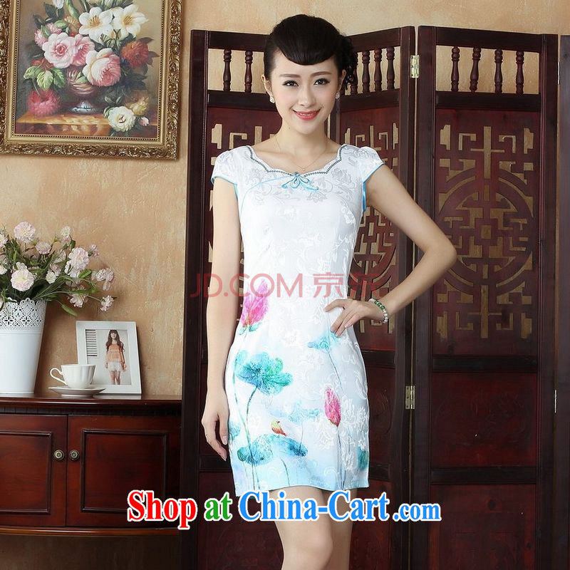 Joseph cotton Lady Jane, Jacob embroidery cheongsam improved cheongsam dress summer white exclusive fashion beauty dresses D paragraph 0235 XXL
