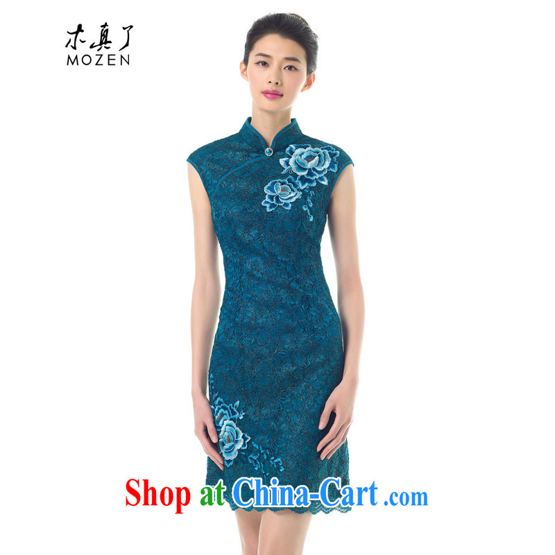Wood is really a spring 2015 new, improved embroidery cheongsam dress stylish lace dresses beauty dresses summer 11 43,135 light blue XXL B _ _
