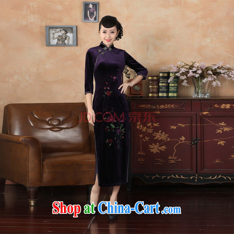 Joseph's new-stretch the wool long cheongsam 7 sub-cuff fall and winter dresses, dresses - B purple XXL