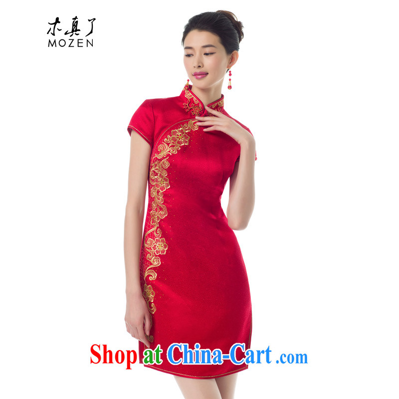 Wood is really the Chinese Spring 2015 the new embroidery wedding dresses dress bride toast wedding clothes dress 01,214 05 red XXL