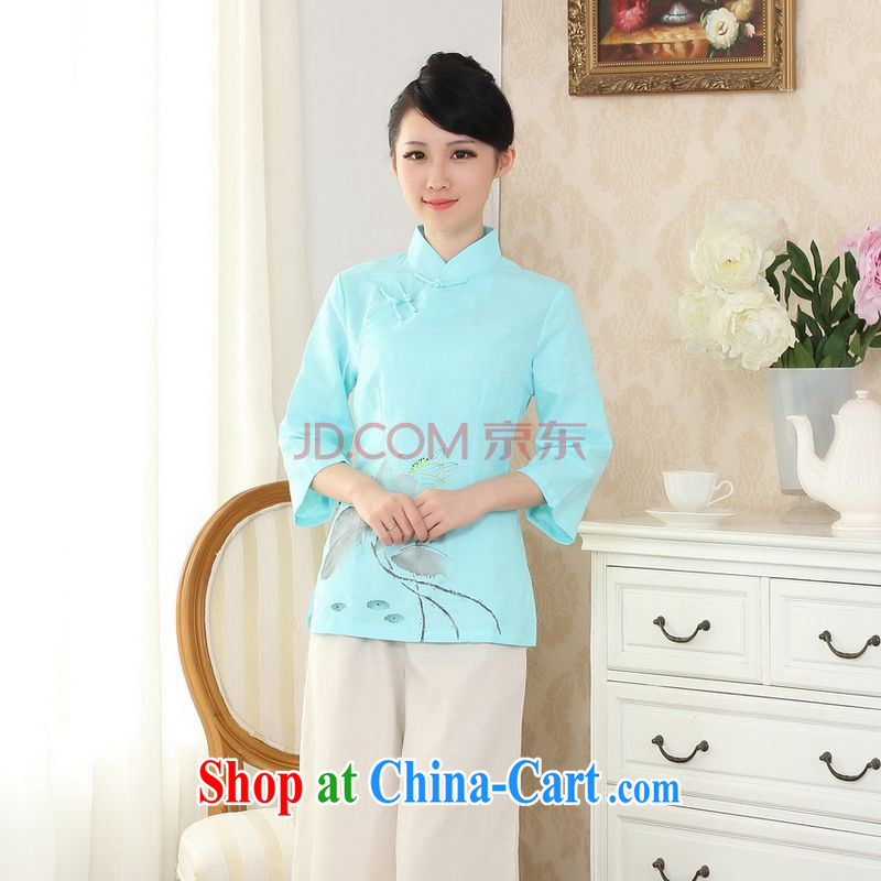 Uh, Ms. JOSEPH Tang Women's clothes summer T-shirt, cotton for the hand-painted Chinese Han-female improved Tang in cuff - blue C XXL