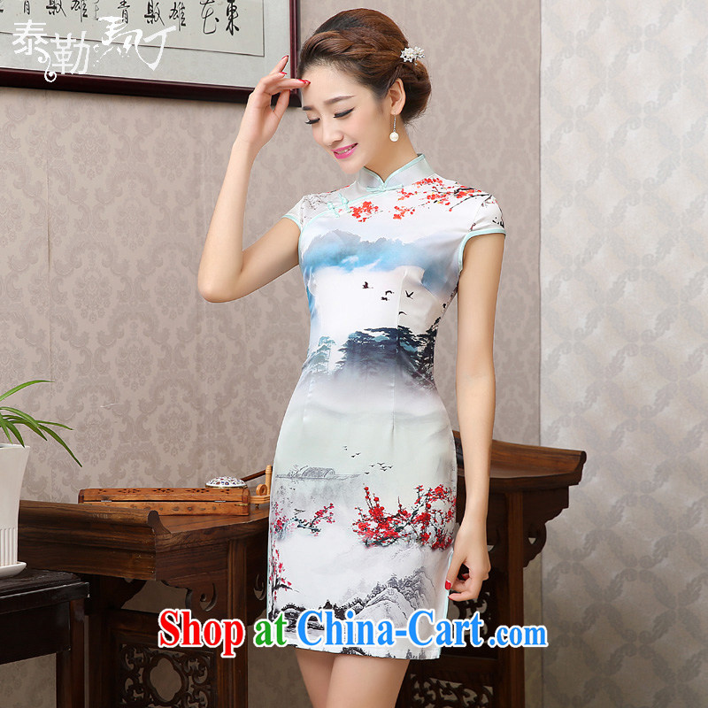 2015 new stamp duty sauna silk daily short cheongsam dress Water Village in Gangnam improved national wind beauty package and cheongsam dress dress white XXL