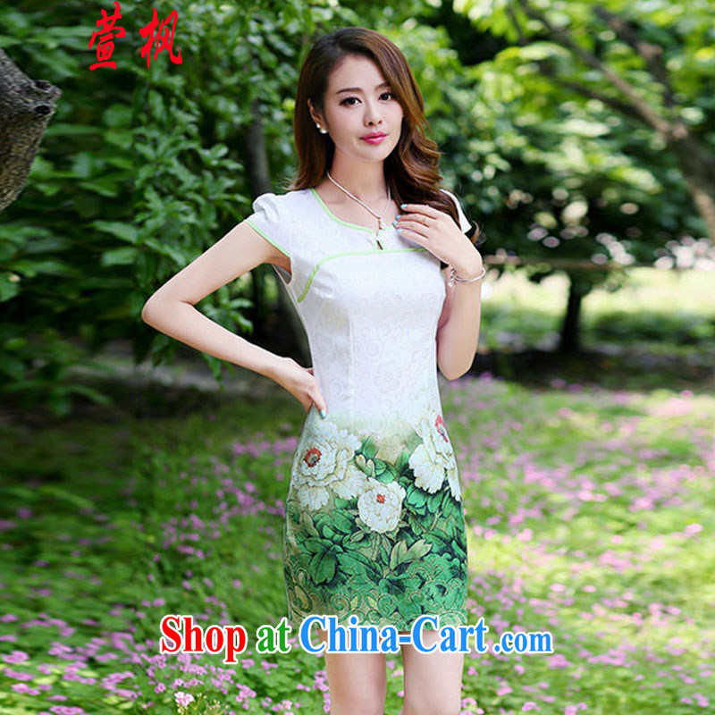 XUAN FENG 2015 spring and summer new Korean beauty with beautiful stamp Stylish retro style ladies short sleeve cheongsam dress green peony flower XXL