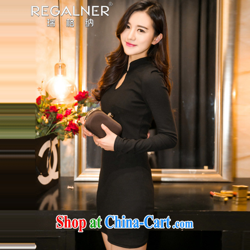 Ryan, 2015 spring and summer New Beauty video thin package and sexy night-long-sleeved solid dresses black dresses skirts dresses black L