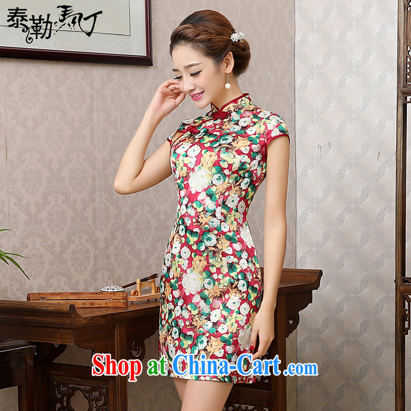 Taylor Martin new large flower sauna beauty silk graphics thin short cheongsam daily arts improved cheongsam dress female Red S
