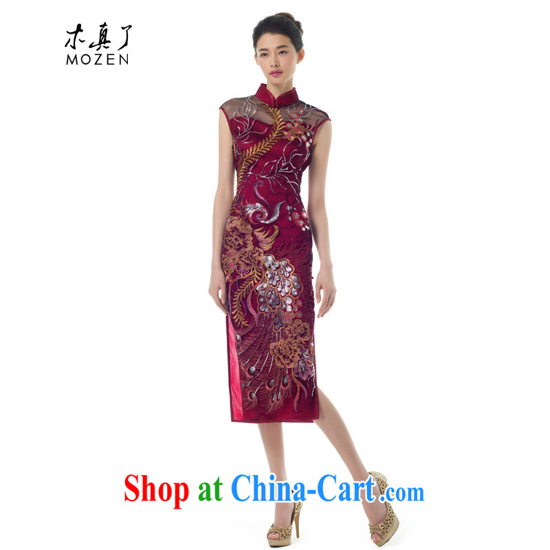 Wood is really the 2015 spring new Phoenix, dresses lace dress dresses wedding mom with 11,621 04 deep red XXL