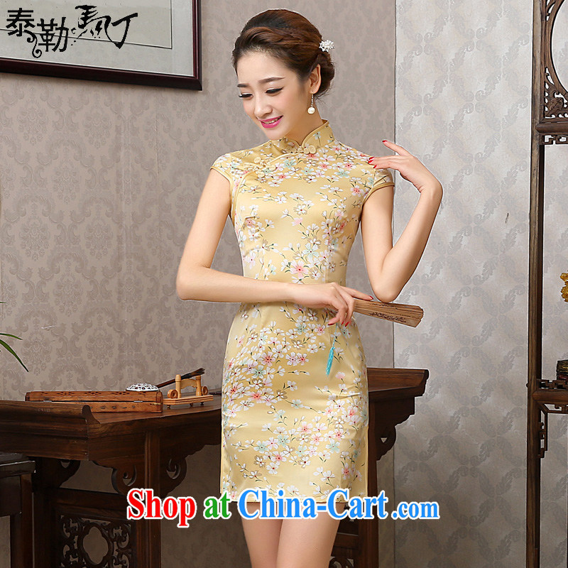 2015 President Taylor Martin new yellow silk beauty package and short dresses retro improved elegant everyday dresses skirts female yellow XXL