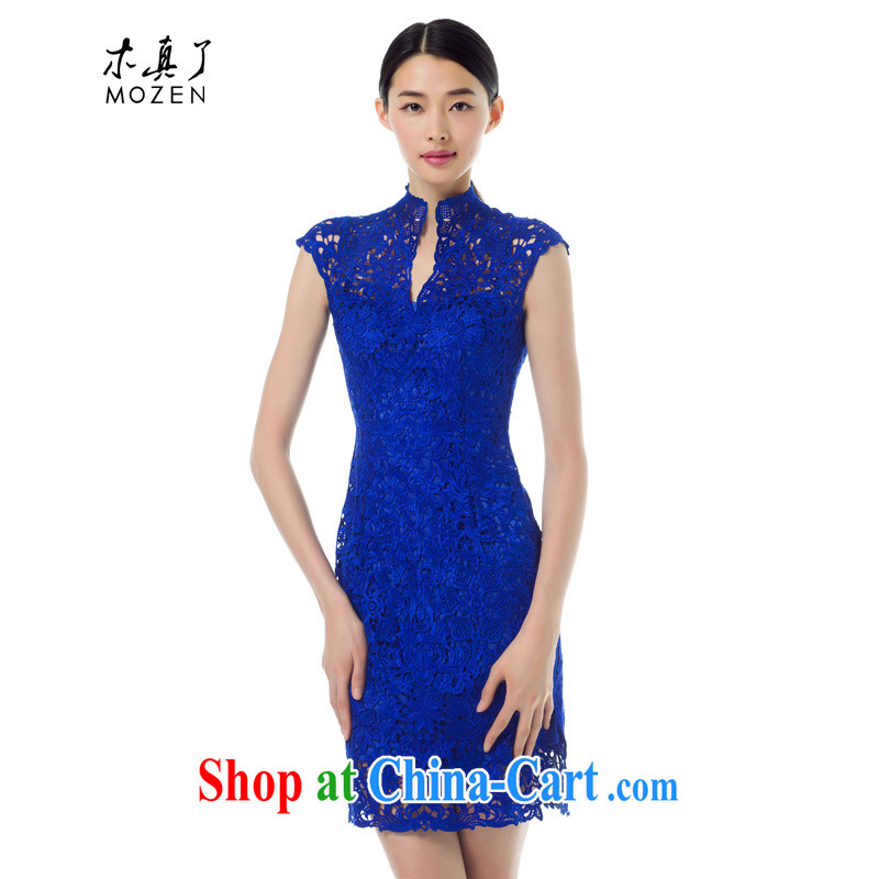 Wood is really the Chinese Dress fall 2015 with Openwork cheongsam dress lace dress summer new 42,896 10 dark blue XXL _A_