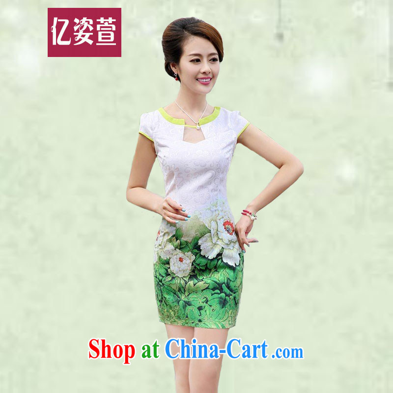 100 million Dollar City summer 2015 new girls improved stylish short skirts retro style beauty dresses retro daily stamp cheongsam dress 6878 green Peony XXL