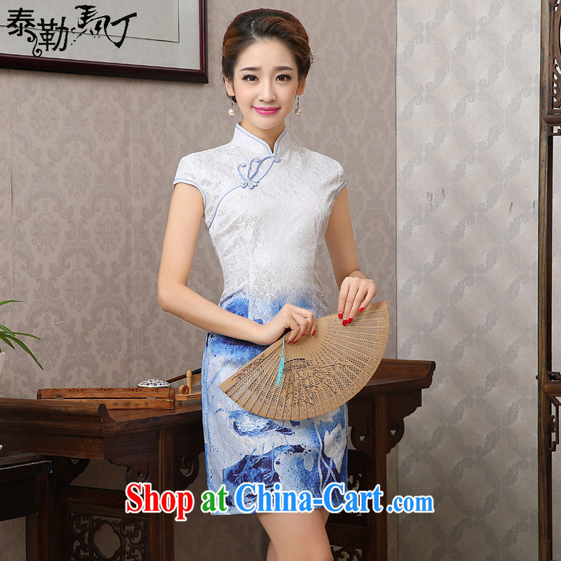 Spring 2015 new lace daily goods short-sleeved improved arts small fresh beauty graphics thin cheongsam dress girls white blue XXL I should be grateful if you