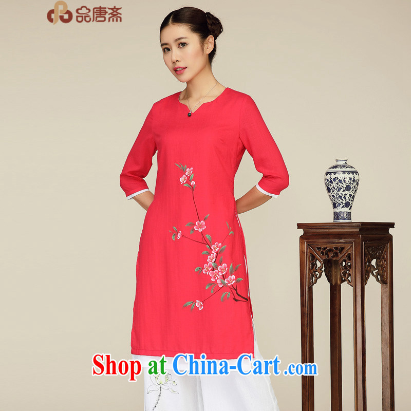 Mr Henry Tang, Id al-Fitr spring and summer new 2015 National wind cuff retro leave of two part Tang Women's clothes were red XL