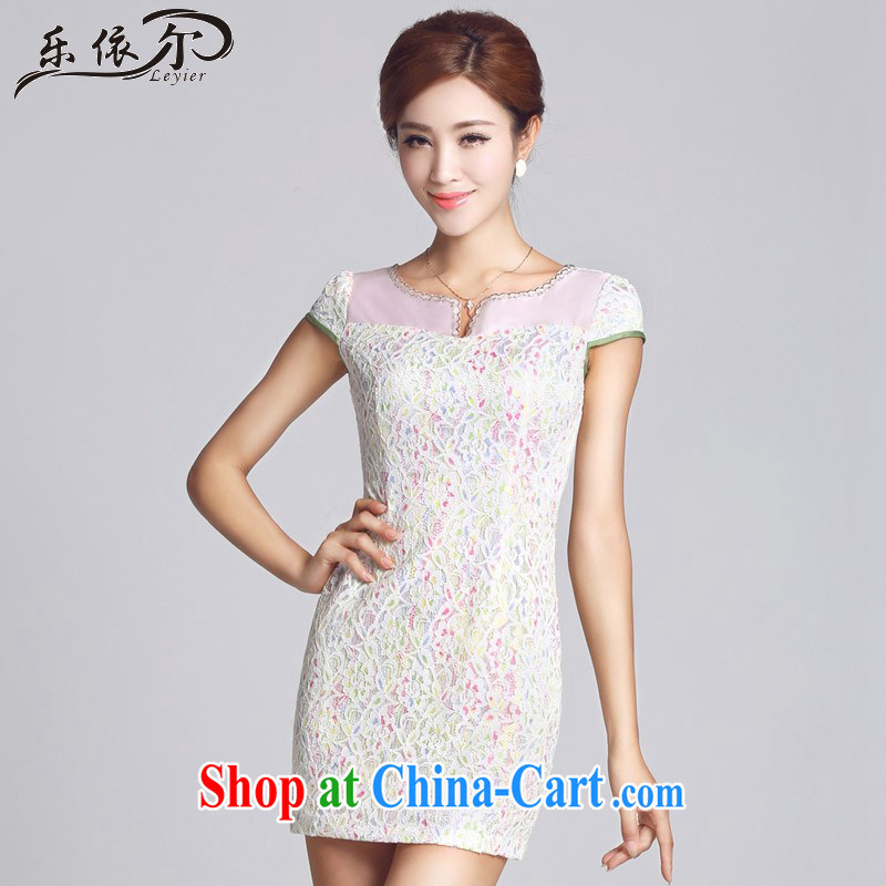 And, in accordance with lace-patterned improved short, female cheongsam dress daily lady LYE 66,605 white XXL