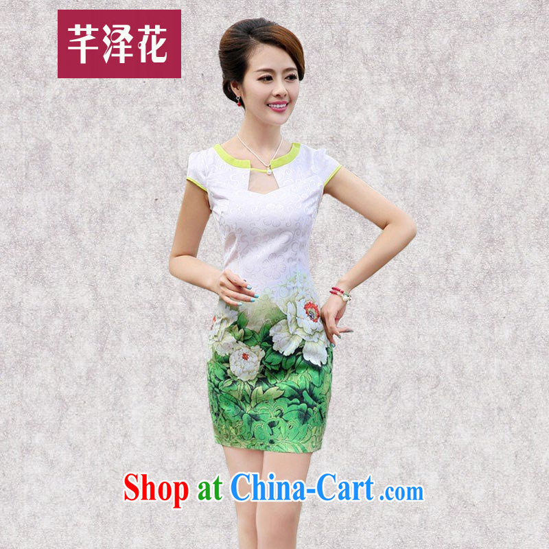 Constitution, spent summer 2015 new girls improved stylish short bag and dress style beauty retro daily stamp cheongsam dress 6878 green Peony M