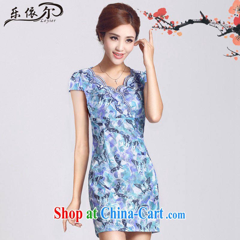 And, in accordance with short-sleeved dresses female short cheongsam dress daily improved cheongsam lady retro LYE 66,625 blue XXL
