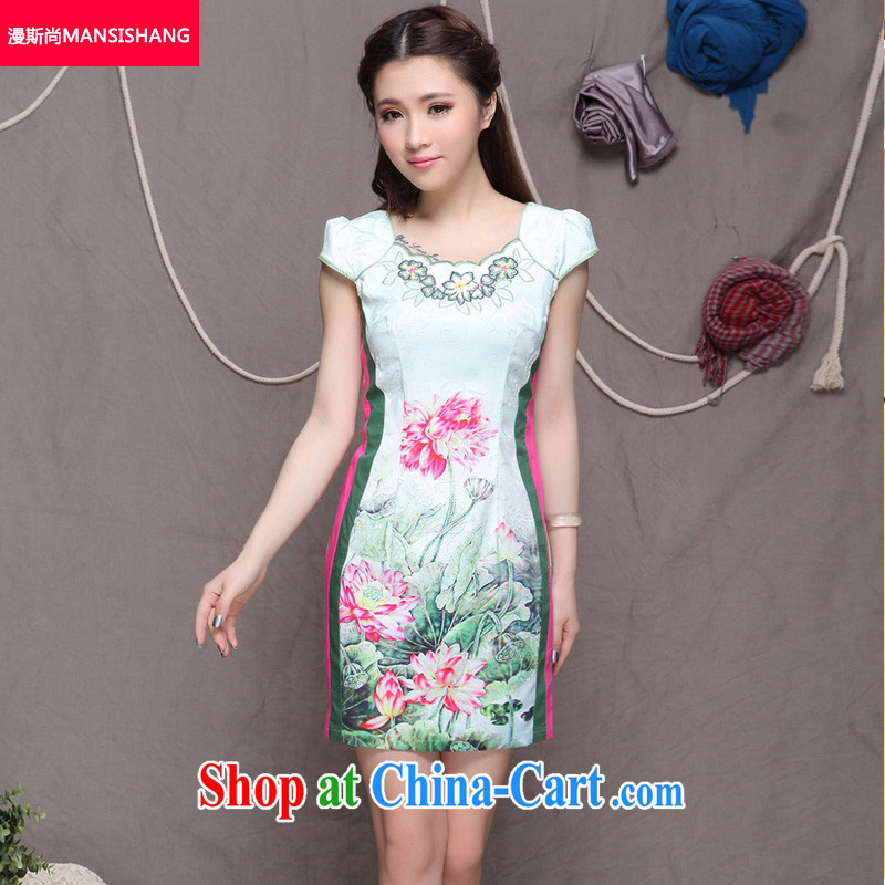 Diffuse, 2015 China wind stylish Ethnic Wind and refined improved cheongsam dress elegance floral S