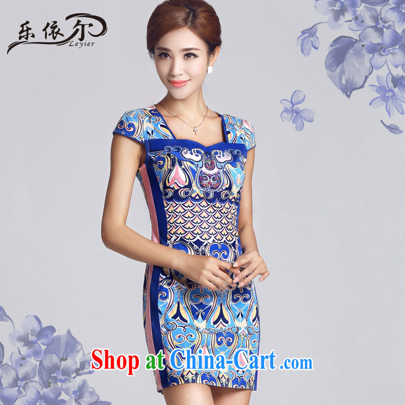 And, in accordance with antique Ethnic Wind blue and white porcelain pattern short cheongsam daily ladies dress cheongsam elegant LYE 33,301 blue XXL