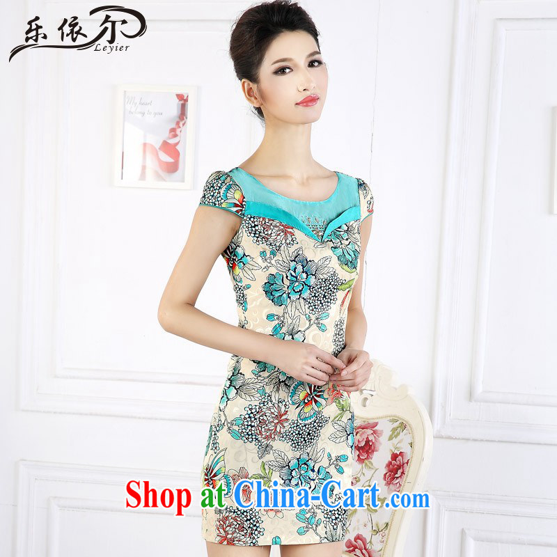And, in accordance with antique Ethnic Wind stamp short dresses short-sleeved improved female cheongsam dress the drill LYE 66,627 green XXL