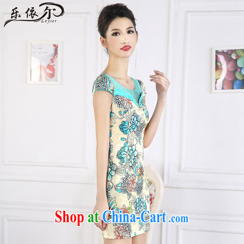 And, in accordance with antique Ethnic Wind stamp short cheongsam dress short-sleeved improved female cheongsam dress the drill LYE 66,627 green XXL, in accordance with (leyier), shopping on the Internet