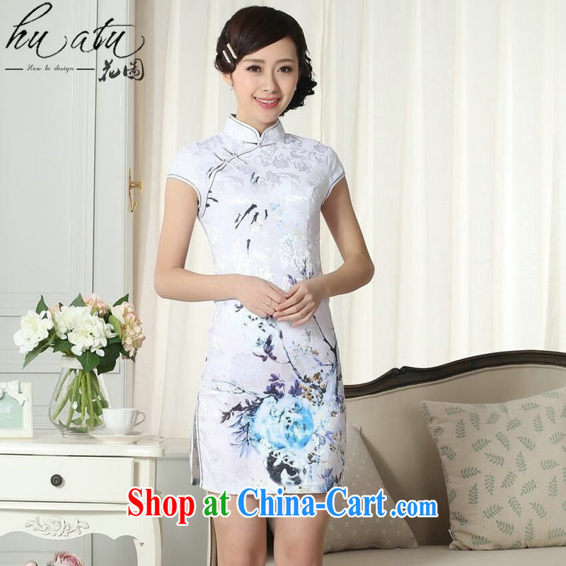 Take the new summer elegance Chinese qipao cotton clothes Chinese, for improved graphics thin Mini short cheongsam figure color 2 XL