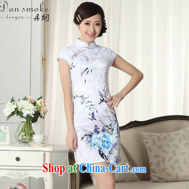 Dan smoke new summer elegance Chinese qipao cotton clothes Chinese, for improved graphics thin Mini short cheongsam as shown color 2 XL