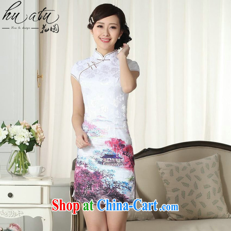 Take the lady stylish jacquard cotton cultivation short cheongsam dress girls summer, new Chinese mini cheongsam dress such as the color 2 XL