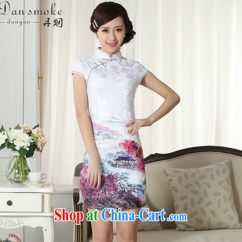 Bin Laden smoke lady stylish jacquard cotton cultivating short cheongsam dress girls summer new Chinese mini cheongsam dress such as the color 2 XL