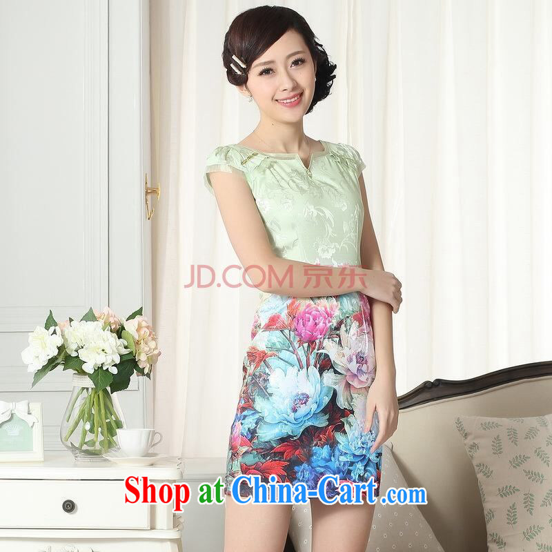 Shanghai optimization new summer elegance Chinese qipao improved graphics thin short cheongsam picture color 2 XL