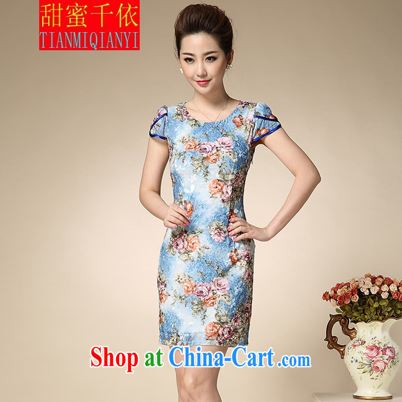 Sweet 1000 to 2015 spring new aura Mrs women short-sleeved stamp beauty package and dress blue XXXL