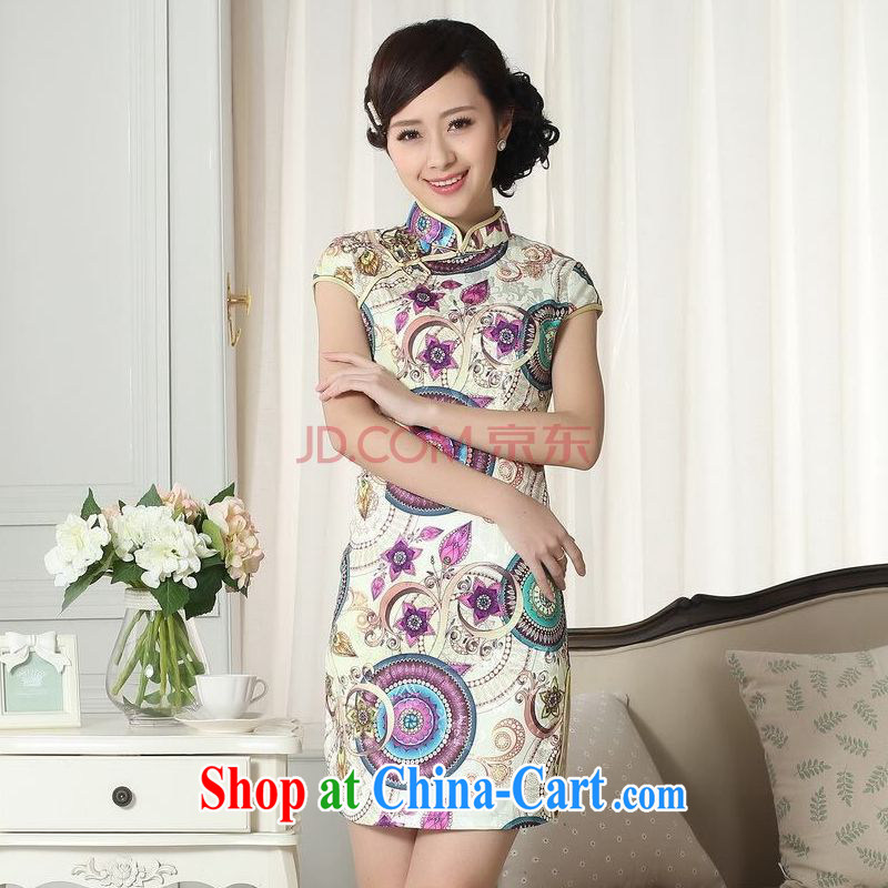 Shanghai optimization options lady stylish jacquard cotton cultivating short cheongsam dress new Chinese qipao gown picture color 2 XL