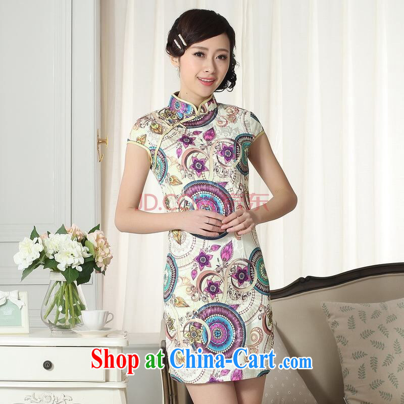 Shanghai, optimize purchase lady stylish jacquard cotton cultivating short cheongsam dress new Chinese qipao gown picture color 2 XL, Shanghai, optimize, and shopping on the Internet