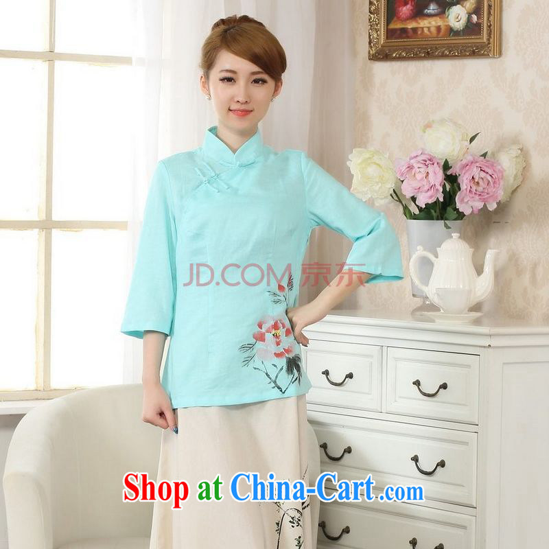Uh, Ms. JOSEPH Tang Women's clothes summer T-shirt, cotton for the hand-painted Chinese Han-female improved Tang in cuff - C Lake blue XXL