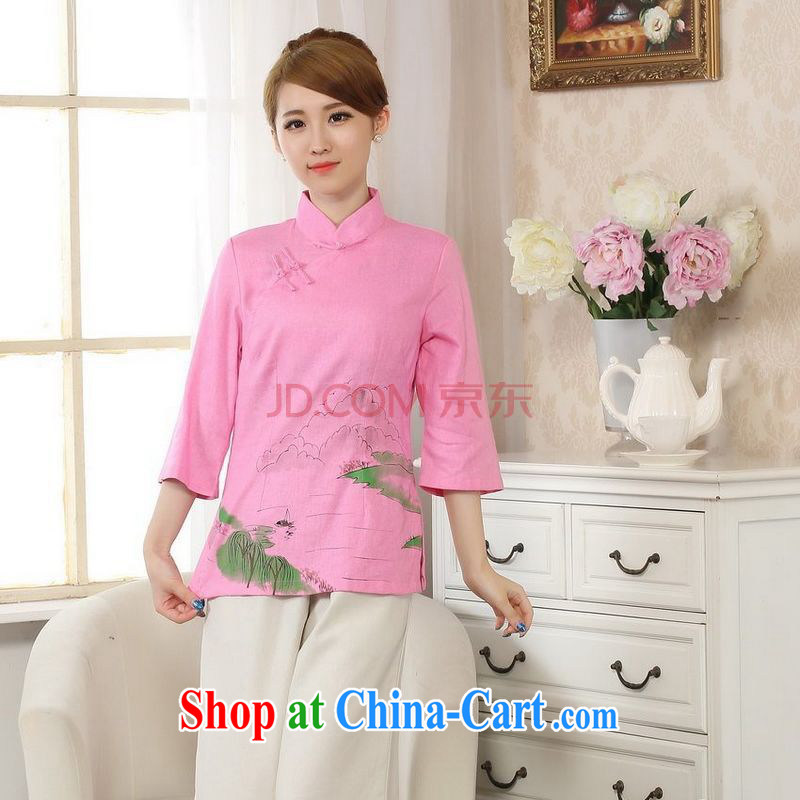 Uh, Ms. JOSEPH Tang Women's clothes summer T-shirt, cotton for the hand-painted Chinese Han-female improved Tang in cuff - B pink XXL