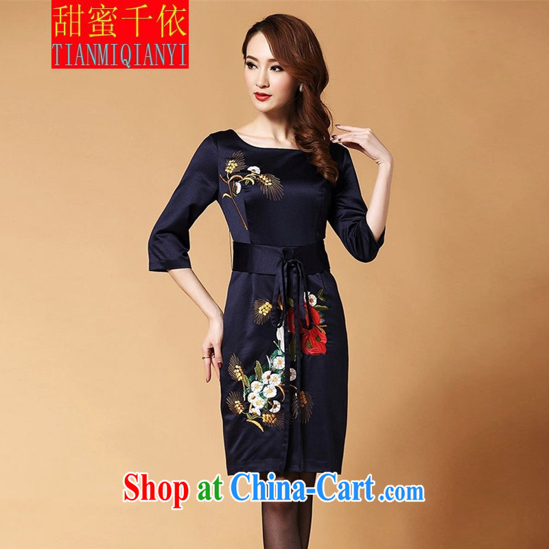 Sweet 1000 in spring 2015 the new noble temperament evening gown embroidery cheongsam dress dark blue in L cuff